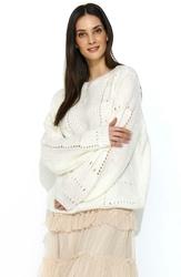 Luźny Ecru Sweter z Ażurowym Wzorem