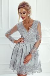 Sukienka na wesele,  srebrna koronkowa rozkloszowana - amelia
