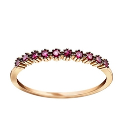 Staviori pierścionek. cyrkonia. żółte złoto 0,585.   złoty pierścionek ozdobiony czerwonymi cyrkoniami.