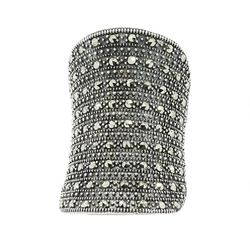 Brianna; srebrny pierścionek markazyty duży koktajlowy