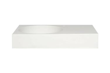 Umywalka matowa mirela biała wisząca lewa z otworem