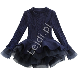 Granatowa sweterkowa krótka sukienka dla dziewczynki z tiulową spódniczką