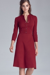 Bordowa casualowa skromna sukienka zapinana na napki
