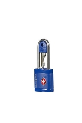 Niebieska kłódka zabezpieczająca na klucz z systemem tsa