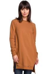 Karmelowa długa nierozpinana bluza z rozporkami