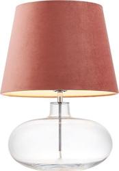 Lampa stołowa sawa velvet transparentna podstawa różowy abażur
