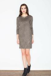 Oliwkowa prosta sukienka z ozdobnymi nitami