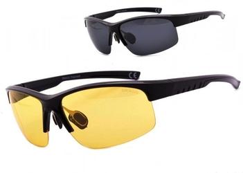 Okulary z dwoma soczewkami polaryzacyjnymi czarna i żółta - drs-55c1
