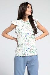 Kwiatowa elegancka bluzka z riuszką