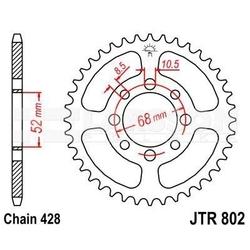 Zębatka tylna stalowa jt 802-40, 40z, rozmiar 428 2300210 suzuki ts 80