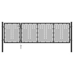 Vidaxl brama ogrodzeniowa, stalowa, 350 x 75 cm, czarna