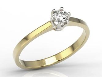 Pierścionek zaręczynowy z żółtego i białego złota z diamentem ap-1720zb - brylant 0,20 ct
