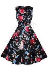 Czarna rozkloszowana sukienka w kwiaty lb90889