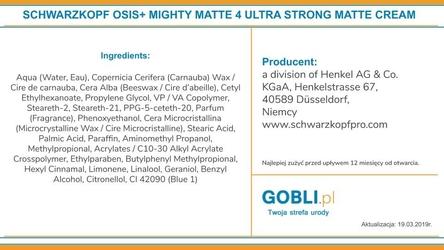 Schwarzkopf osis mighty matte, krem z naturalnymi woskami, ekstremalnie utrwalenie 85ml