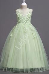 Pastelowo zielona suknia dla dziewczynki na bal, wesele 832