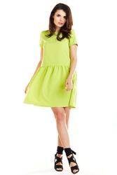 Limonkowa letnia sukienka z marszczonym dołem