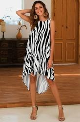 Czarno biała oversizowa sukienka letnia - zebra