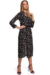 Sukienka midi w kwiatki z rozcięciem z przodu - model 8