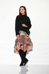 Czarny oversizowy ciepły sweter z półgolfem
