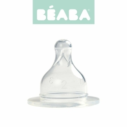 Zestaw 2 smoczków do butelek szerokootworowych, szybki przepływ, kaszka 18m+, Beaba