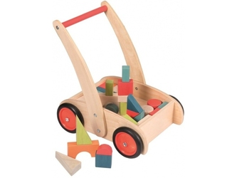 Drewniany wózek do pchania z klockami