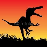 Obraz na płótnie canvas czteroczęściowy tetraptyk atak dinozaura