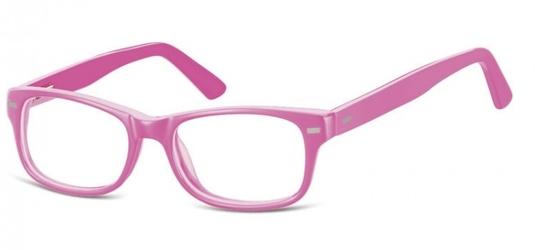 Okulary dziecięce zerówki nerdy ak49c róż wpadający w fiolet