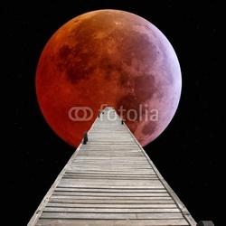 Obraz na płótnie canvas czteroczęściowy tetraptyk spacer po księżycu