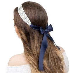 Opaska do włosów biała pleciona wstążka wiązana