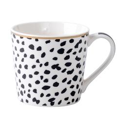 Kubek do kawy i herbaty porcelanowy altom design wysoki 350 ml, dekoracja modern black iii