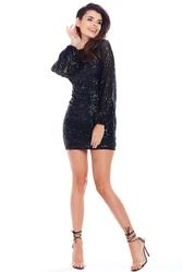 Czarna cekinowa mini sukienka z długim rękawem