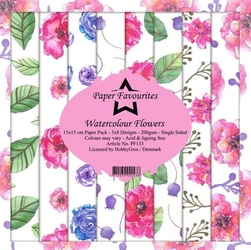 Papier ozdobny 15x15cm watercolour flowers 24 szt. - watercolour flowers