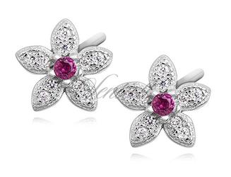 Srebrne kolczyki pr.925 kwiatki z rubinową cyrkonią