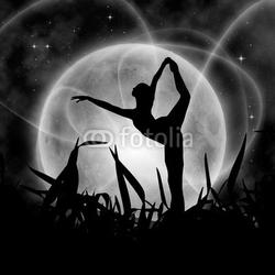 Obraz na płótnie canvas dwuczęściowy dyptyk mistyczna noc z księżycem w pełni i baleriną