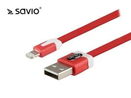 Elmak kabel ze złączem usb - 8pin, ios, do telefonów 5,6,7,8,x,xr,xs savio cl-74 10szt. paczka, 1 m, czerwony