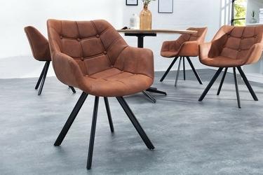 Krzesło pikowane ivo nowoczesne brązowe