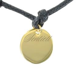 Srebrna zawieszka do bransoletki pr.925 złocone kółko do grawerowania - żółte złoto