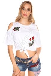 Biała koszulka z odkrytymi ramionami i naszywkami z kwiatowym haftem