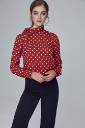 Bordowa bluzka z wiązaną kokardą