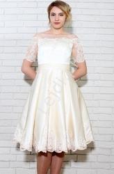 Sukienka zdobiona gipiurą, jasnobeżowa, na wesele, na komunie
