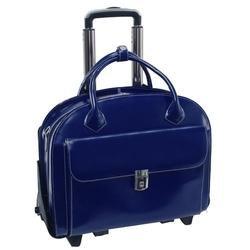 Skórzana torba damska na laptopa 15,4 z odpinanym wózkiem mcklein glen ellyn 94365 granatowa - granatowy