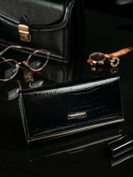 Skórzany portfel damski czarny lorenti 64003