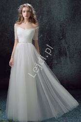 Suknia ślubna hiszpanka, tiulowa zdobiona kryształkami w pasie