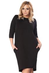 Czarna dzianinowa sukienka z wiązaniem na karku plus size