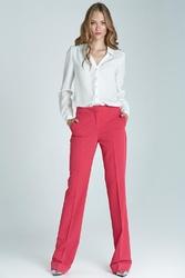 Fuksja eleganckie spodnie w kant z mankietem
