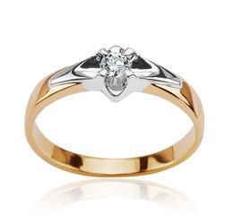 Staviori pierścionek z żółtego i białego złota 0,585. 1 diament, szlif brylantowy, masa 0,10 ct., barwa j, czystość i1.