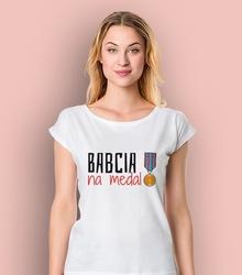 Babcia na medal t-shirt damski biały xs