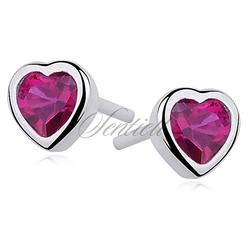 Srebrne kolczyki serca pr.925 cyrkonia rubinowa serce