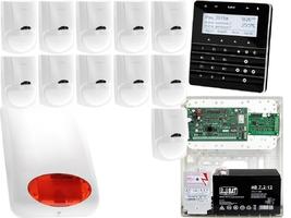 Zestaw alarmowy satel integra 128-wrl manipulator sensoryczny int-ksg-bsb 11x czujka lc-100 sygnalizator zewnetrzny spl-5010 r powiadomienie gsm