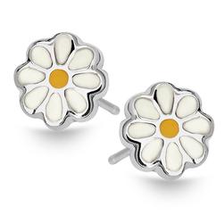 Staviori Kolczyki srebrne dla dziewczynki kwiatki malowane Emalia białe z żółtym